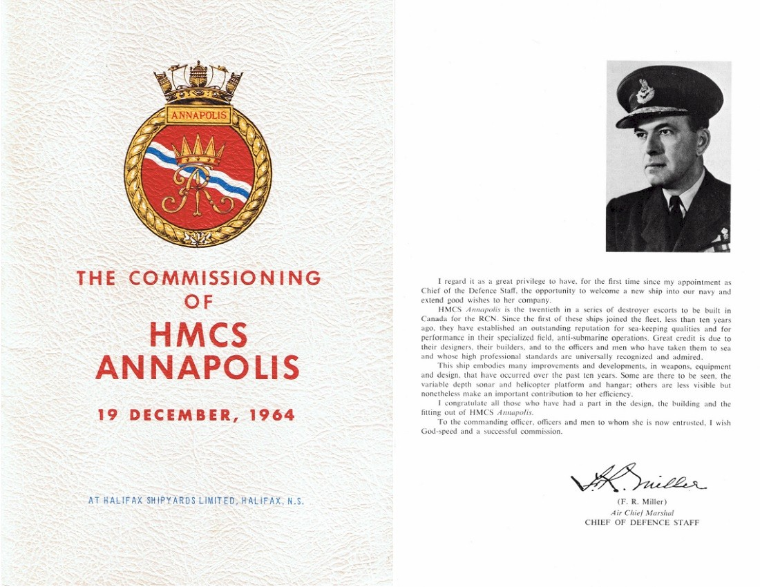 HMCS ANNAPOLIS 265 COMMISSIONING BOOKLET - COVER & PAGE 1