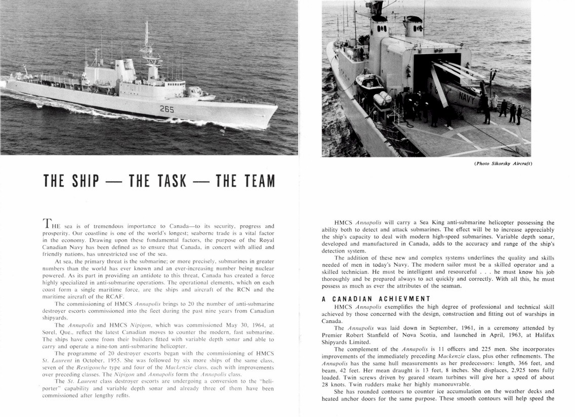 HMCS ANNAPOLIS 265 COMMISSIONING BOOKLET - PAGE 2 & 3