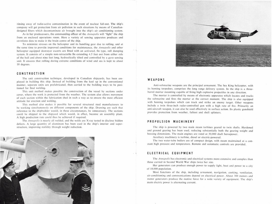 HMCS ANNAPOLIS 265 COMMISSIONING BOOKLET - PAGE 4 & 5