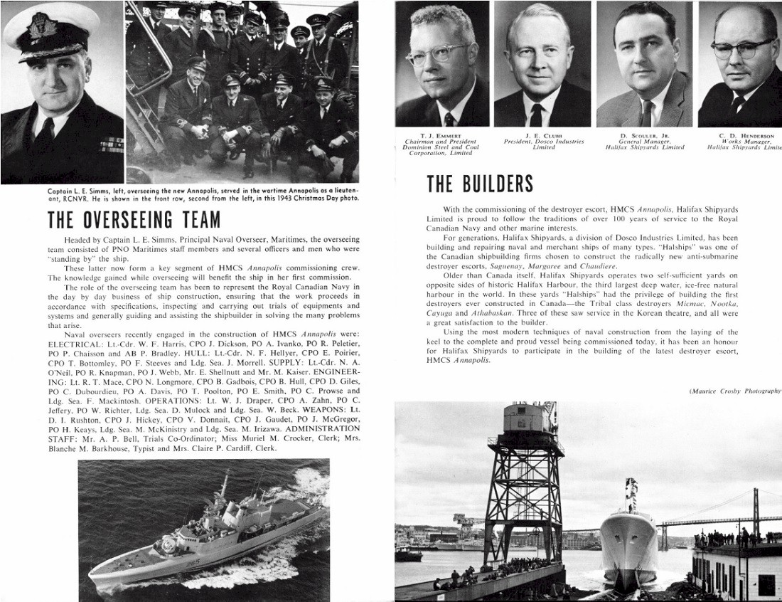 HMCS ANNAPOLIS 265 COMMISSIONING BOOKLET - PAGE 7 & 8