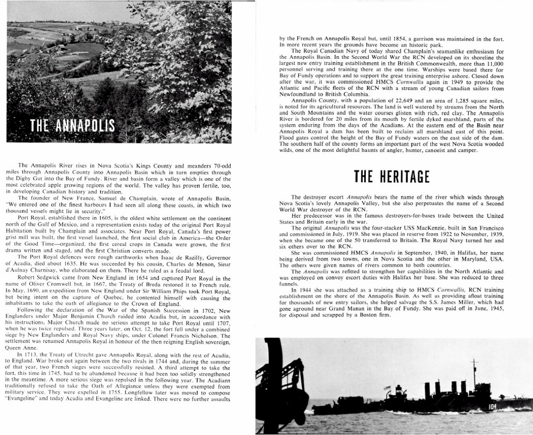 HMCS ANNAPOLIS 265 COMMISSIONING BOOKLET - PAGE 9 & 10