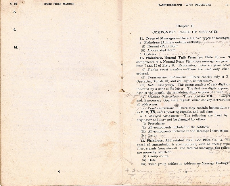 Basic Field Manual, Combined Radiotelegraph (W/T) Procedure -20 Jan 1943 - Page 4 & 5