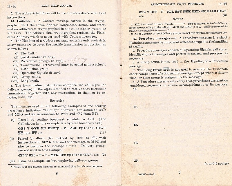 Basic Field Manual, Combined Radiotelegraph (W/T) Procedure -20 Jan 1943 - Page 6 & 7