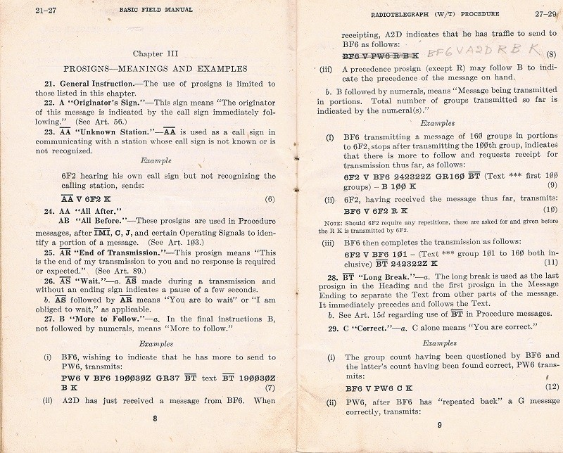 Basic Field Manual, Combined Radiotelegraph (W/T) Procedure -20 Jan 1943 - Page 8 & 9