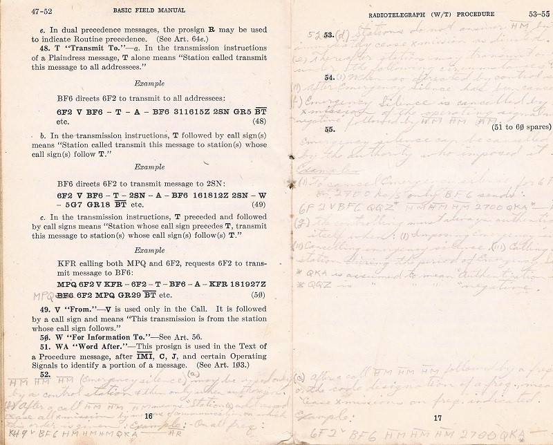 Basic Field Manual, Combined Radiotelegraph (W/T) Procedure -20 Jan 1943 - Page 16 & 17