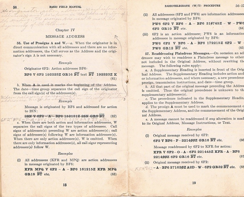 Basic Field Manual, Combined Radiotelegraph (W/T) Procedure -20 Jan 1943 - Page 18 & 19
