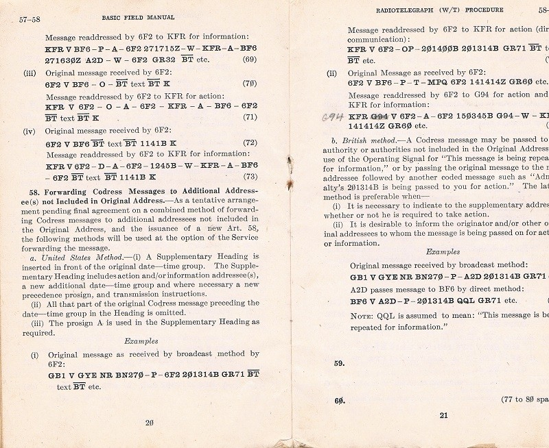 Basic Field Manual, Combined Radiotelegraph (W/T) Procedure -20 Jan 1943 - Page 20 & 21