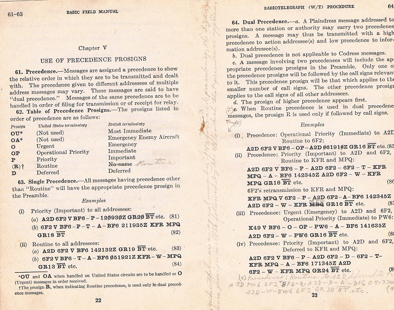 Basic Field Manual, Combined Radiotelegraph (W/T) Procedure -20 Jan 1943 - Page 22 & 23
