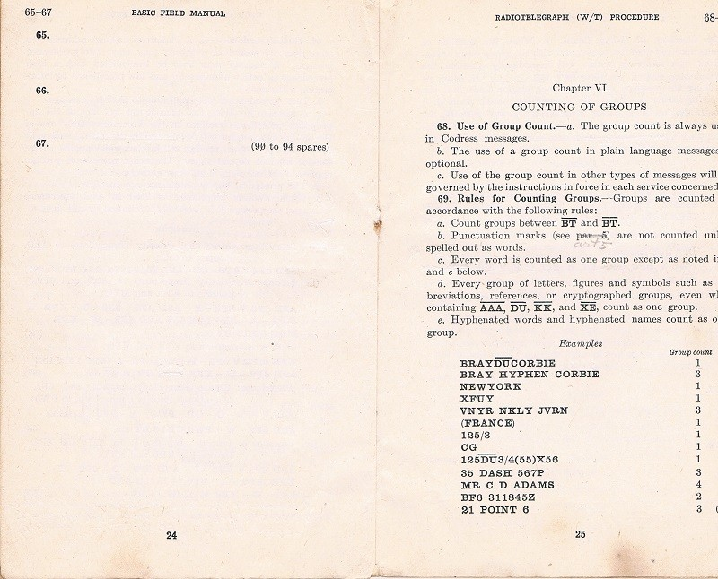 Basic Field Manual, Combined Radiotelegraph (W/T) Procedure -20 Jan 1943 - Page 24 & 25