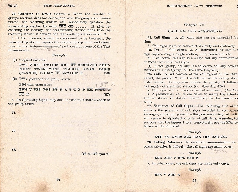Basic Field Manual, Combined Radiotelegraph (W/T) Procedure -20 Jan 1943 - Page 26 & 27