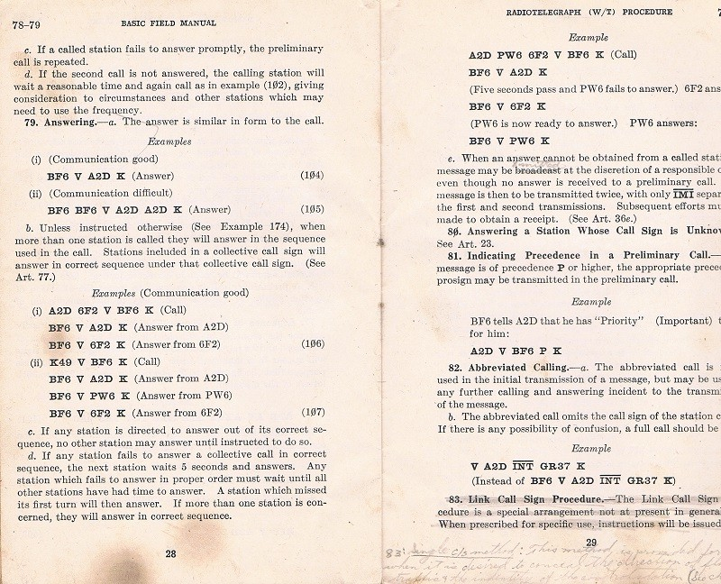 Basic Field Manual, Combined Radiotelegraph (W/T) Procedure -20 Jan 1943 - Page 28 & 29