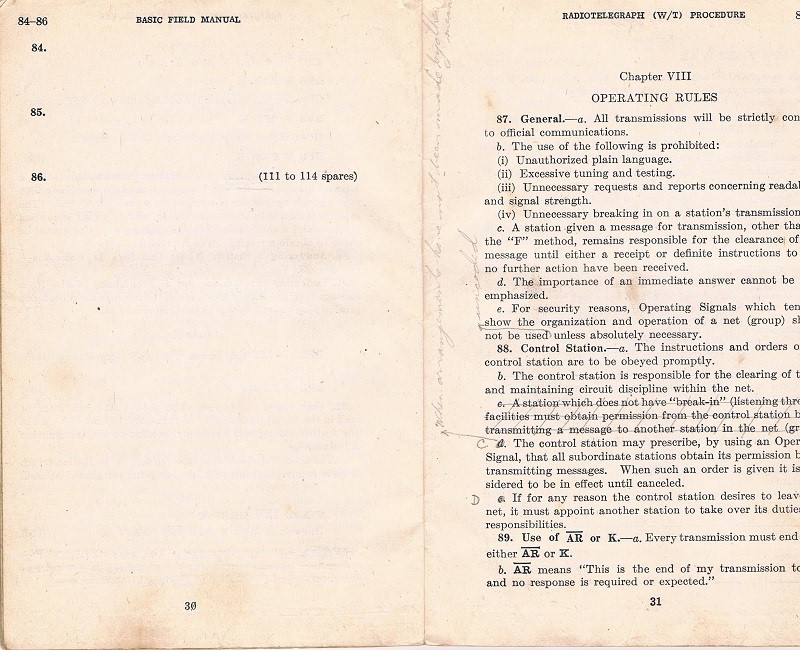 Basic Field Manual, Combined Radiotelegraph (W/T) Procedure -20 Jan 1943 - Page 30 & 31