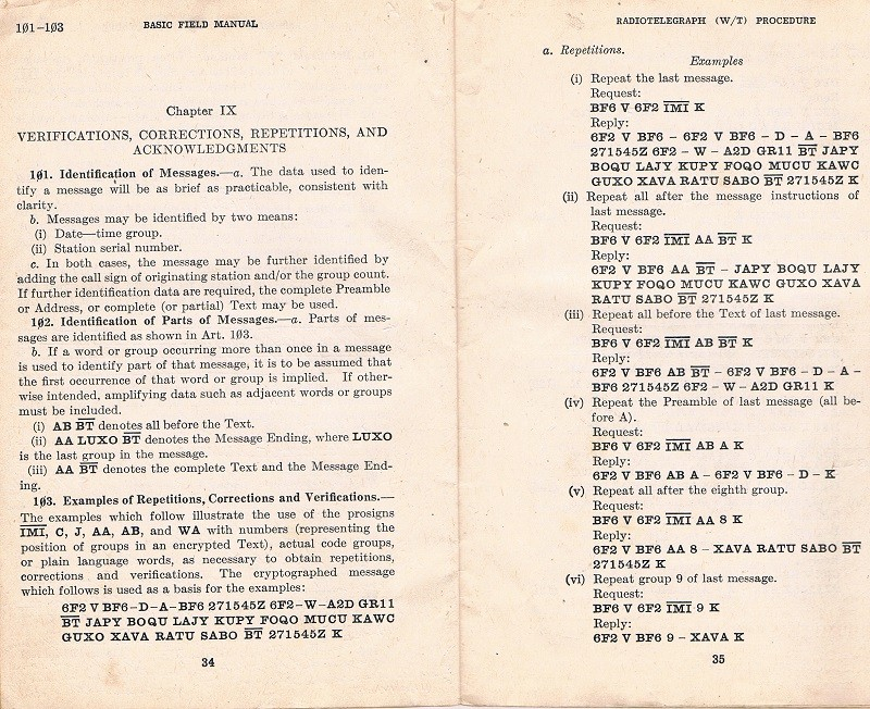 Basic Field Manual, Combined Radiotelegraph (W/T) Procedure -20 Jan 1943 - Page 34 & 35
