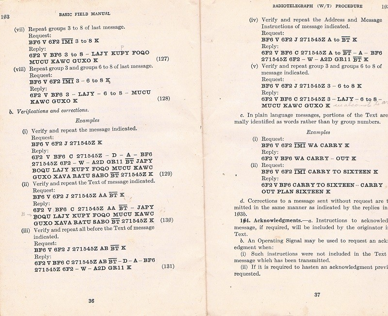 Basic Field Manual, Combined Radiotelegraph (W/T) Procedure -20 Jan 1943 - Page 36 & 37