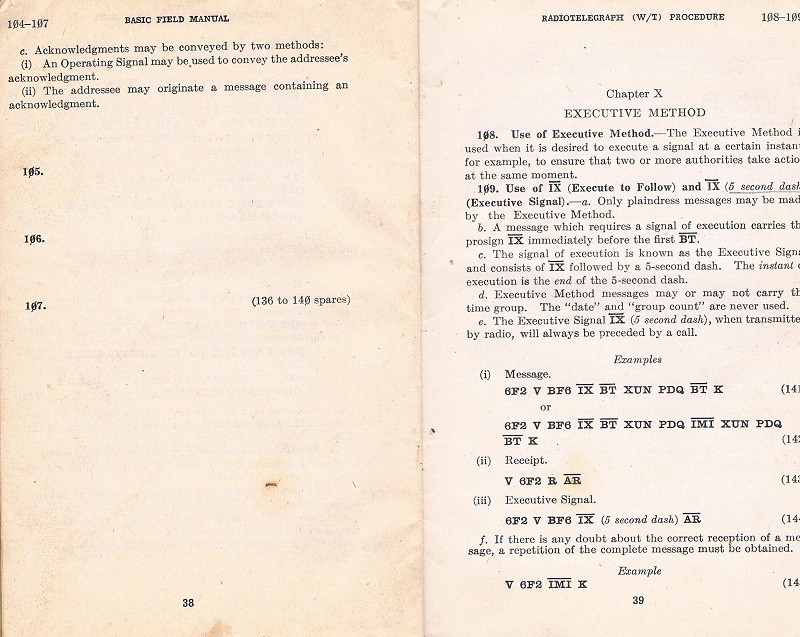 Basic Field Manual, Combined Radiotelegraph (W/T) Procedure -20 Jan 1943 - Page 38 & 39