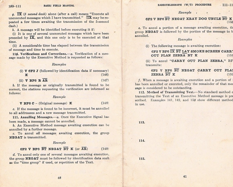 Basic Field Manual, Combined Radiotelegraph (W/T) Procedure -20 Jan 1943 - Page 40 & 41