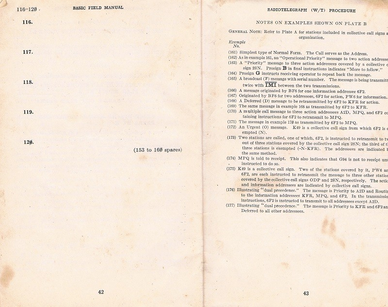 Basic Field Manual, Combined Radiotelegraph (W/T) Procedure -20 Jan 1943 - Page 42 & 43