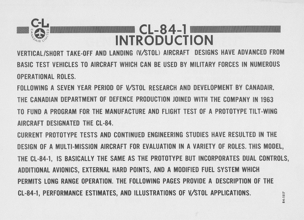 CANADAIR CL-84-1 V/STOL AIRCRAFT PRESENTATION PAGE 2