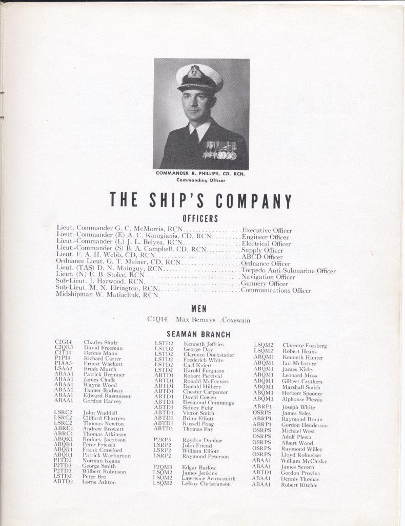 HMCS Fraser Commissioning Booklet 28 Jun 1957 - Page 19 - Crew List