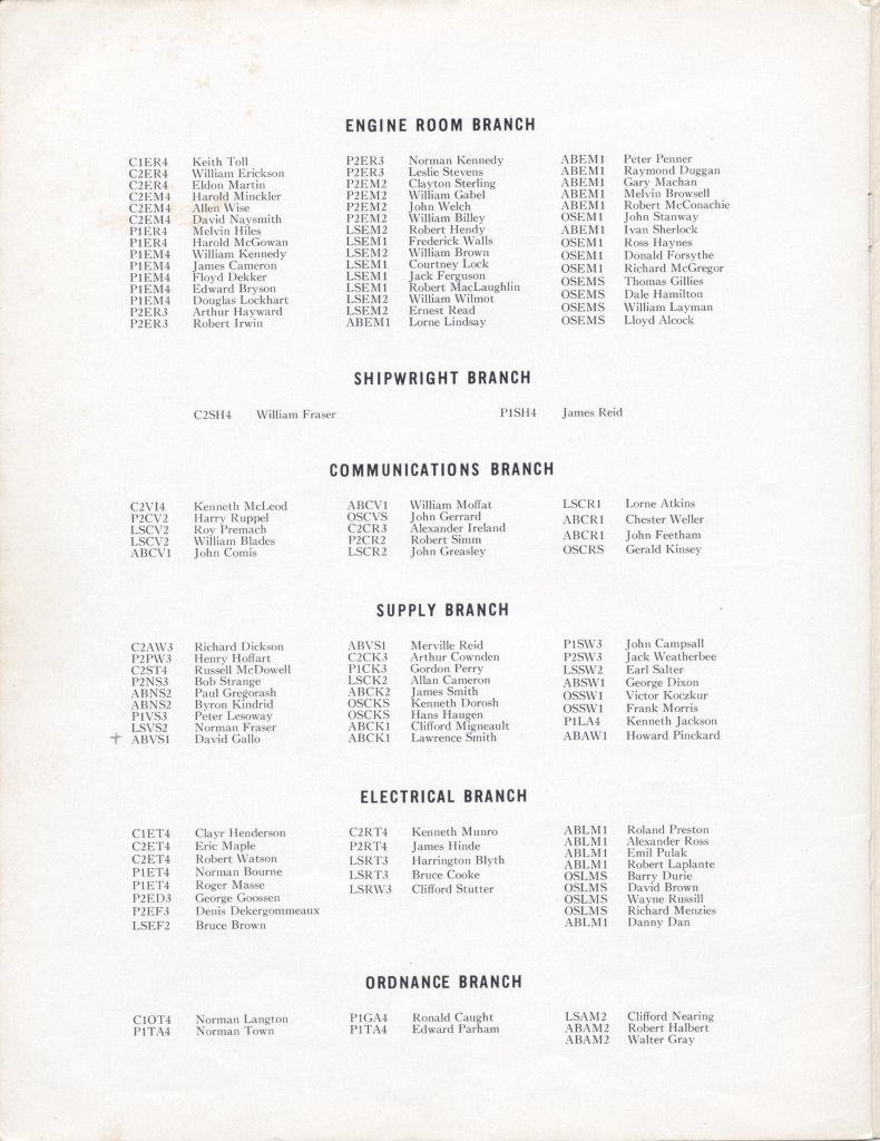 HMCS Fraser Commissioning Booklet 28 Jun 1957 - Page 20 - Crew list
