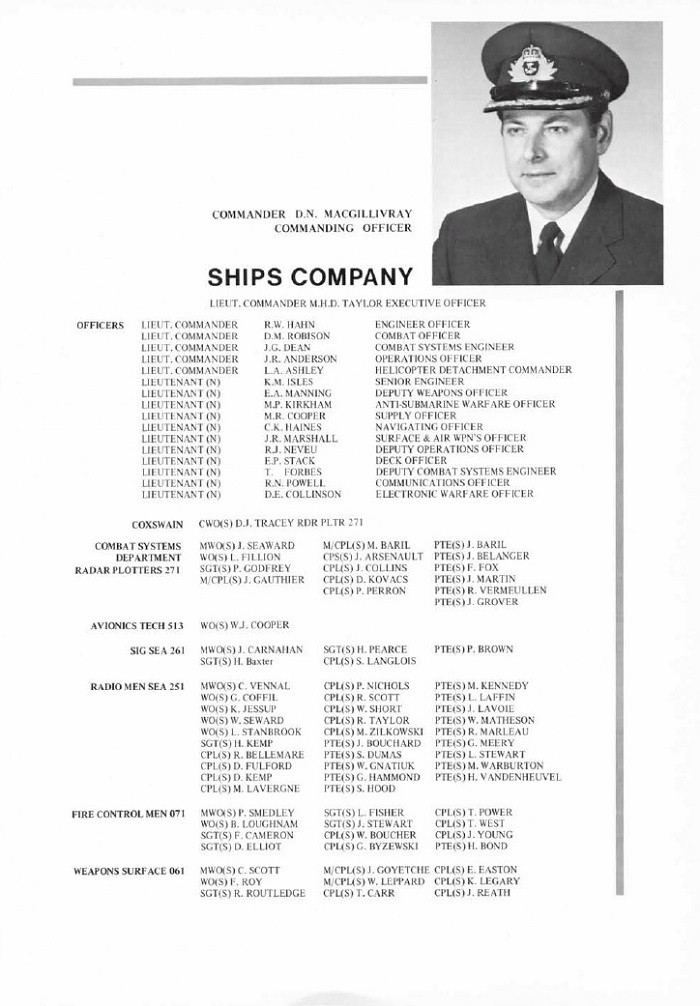 HMCS IROQUOIS 280 COMMISSIONING BOOKLET - PAGE 12