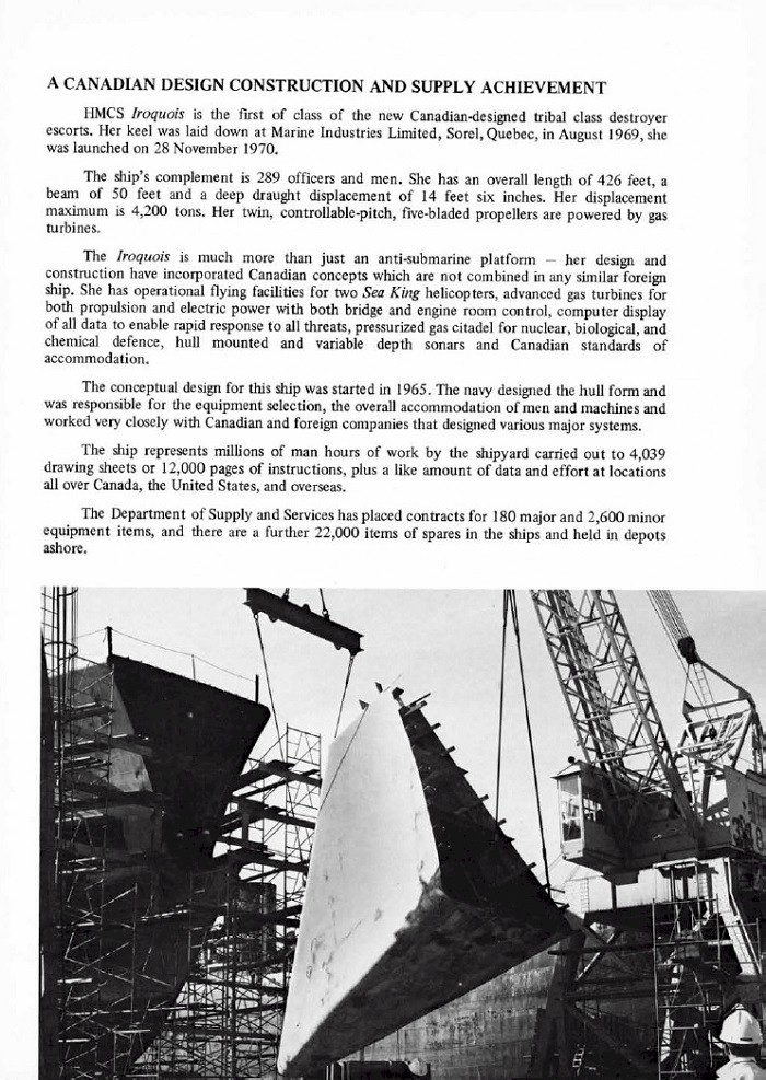 HMCS IROQUOIS 280 COMMISSIONING BOOKLET - PAGE 17