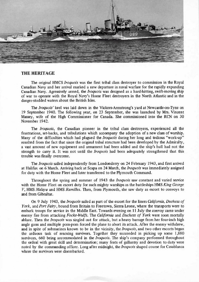 HMCS IROQUOIS 280 COMMISSIONING BOOKLET - PAGE 22