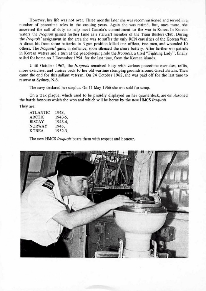HMCS IROQUOIS 280 COMMISSIONING BOOKLET - PAGE 24