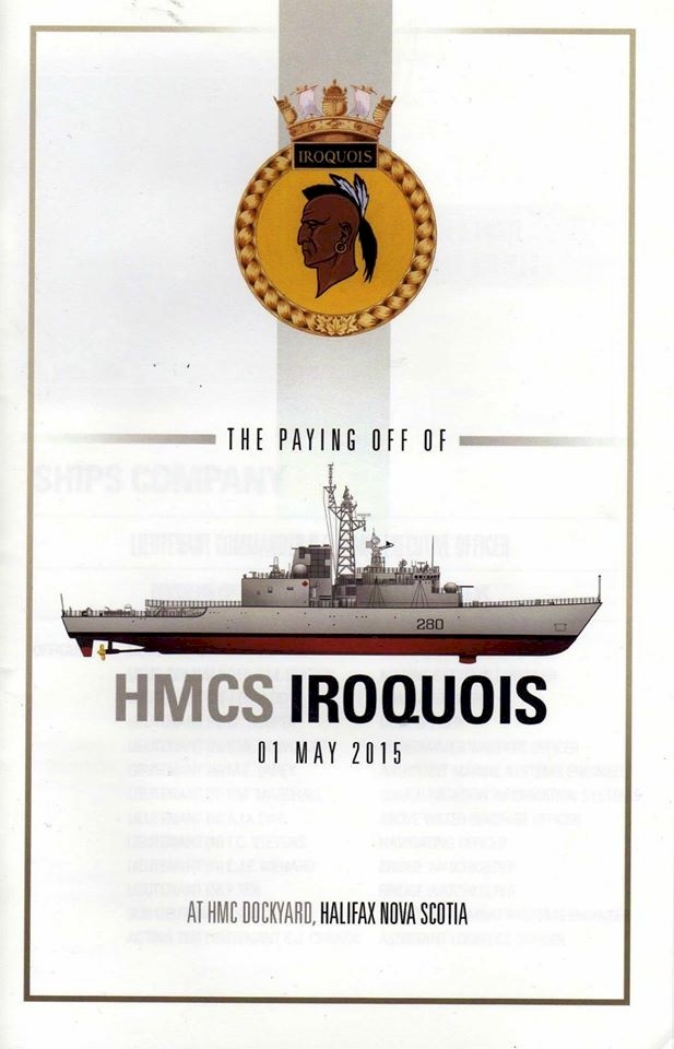 HMCS IROQUOIS PAYING OFF BOOKLET - COVER