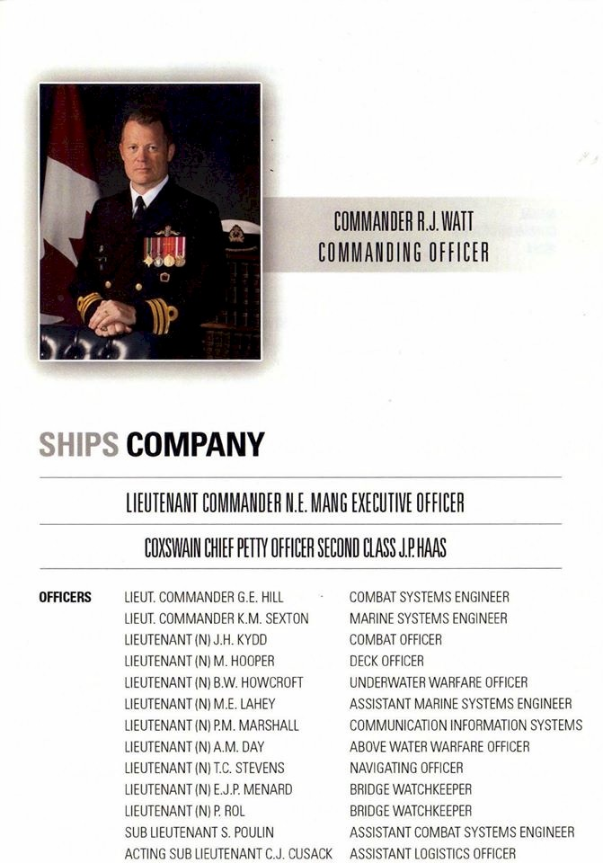 HMCS IROQUOIS PAYING OFF BOOKLET - PAGE 1