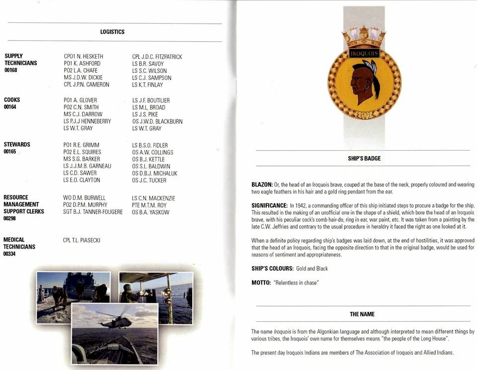 HMCS IROQUOIS PAYING OFF BOOKLET - PAGE 4 & 5