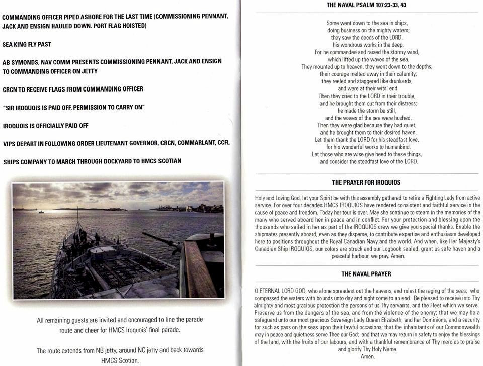 HMCS IROQUOIS PAYING OFF BOOKLET - PAGE 10 & 11