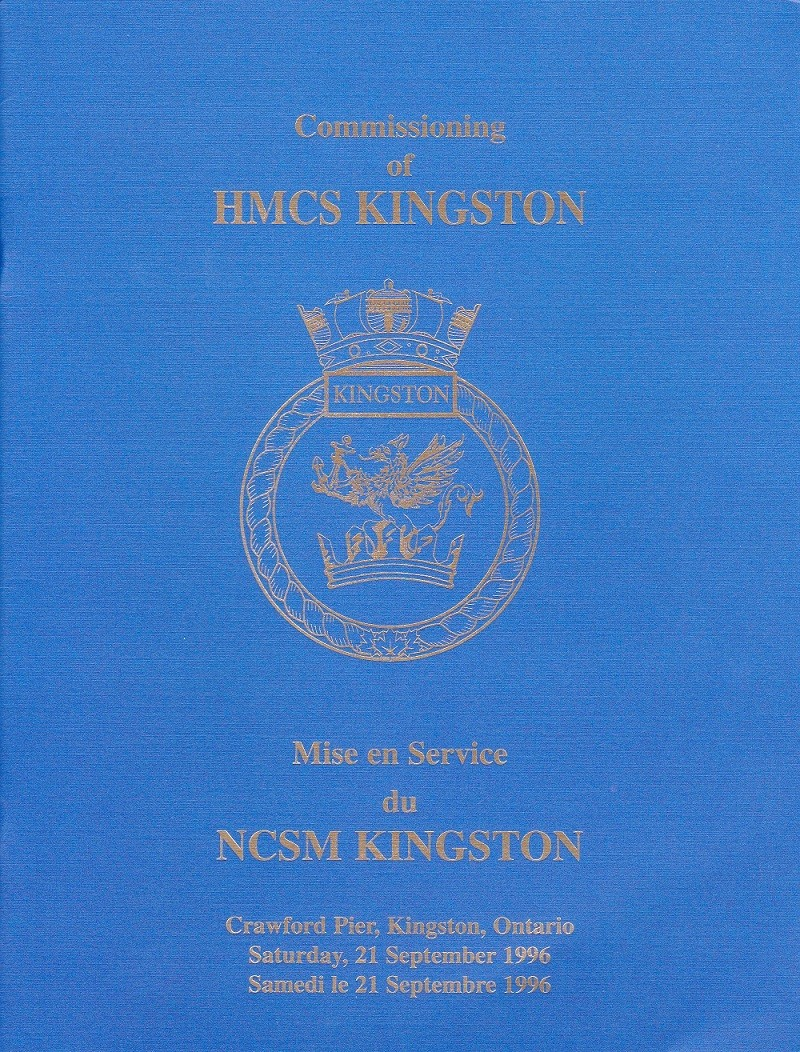 HMCS KINGSTON 700 - COMMISSIONING BOOKLET - COVER