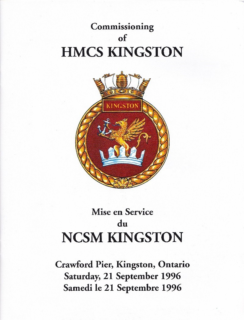 HMCS KINGSTON 700 - COMMISSIONING BOOKLET - PAGE 1