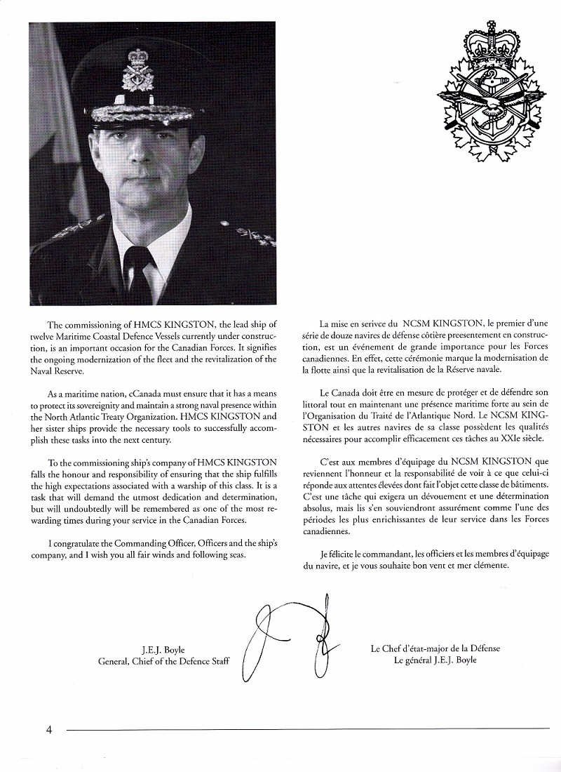 HMCS KINGSTON 700 - COMMISSIONING BOOKLET - PAGE  4