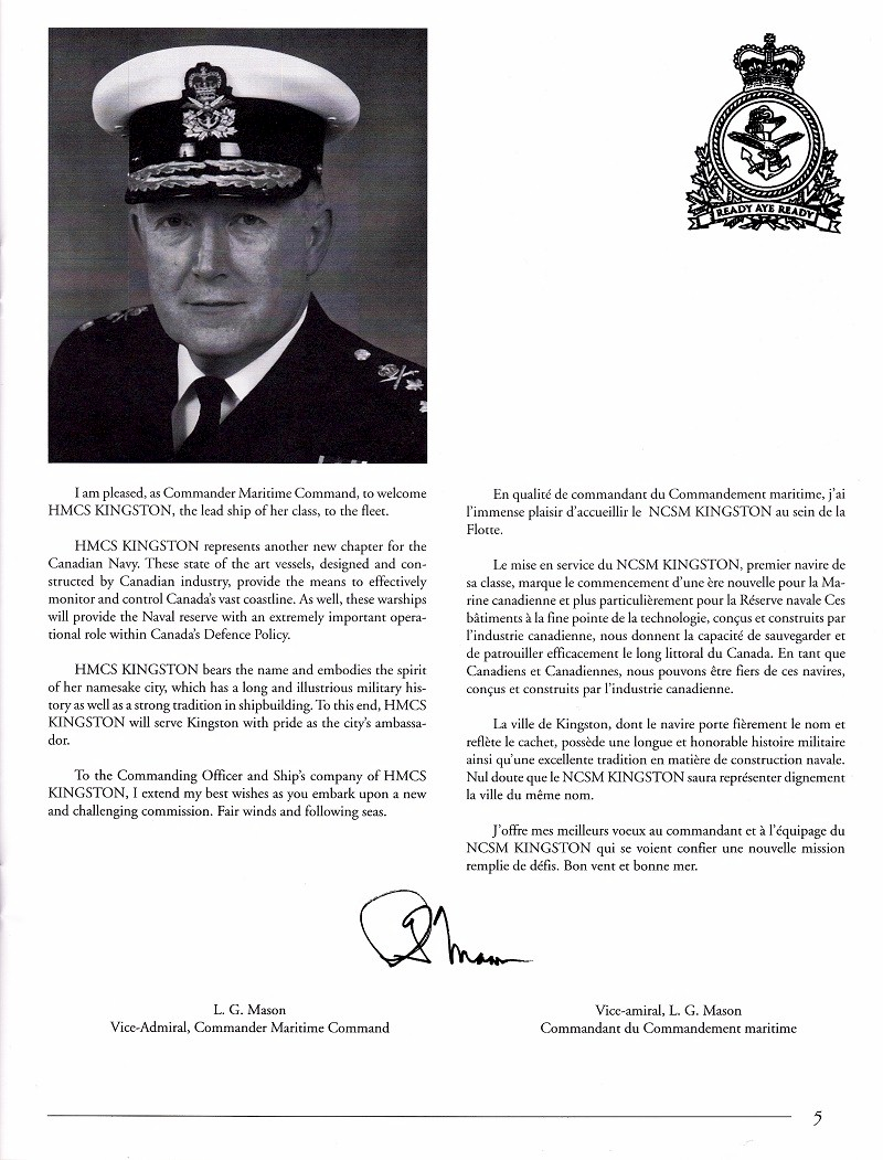 HMCS KINGSTON 700 - COMMISSIONING BOOKLET - PAGE 5