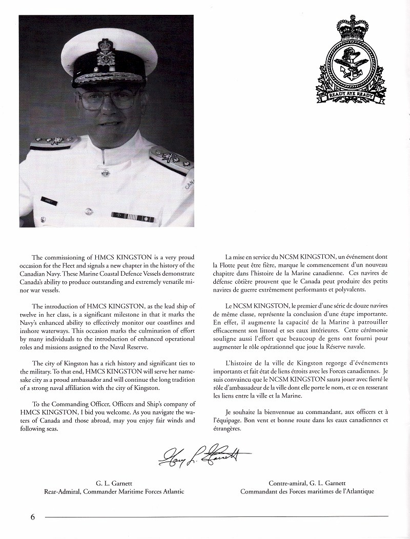 HMCS KINGSTON 700 - COMMISSIONING BOOKLET - PAGE 6
