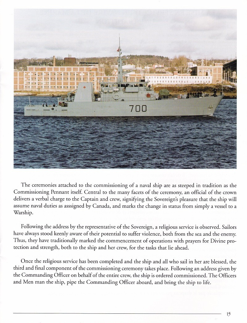HMCS KINGSTON 700 - COMMISSIONING BOOKLET - PAGE 15