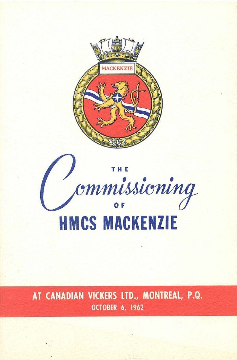 HMCS MACKENZIE 261 Commissioning Booklet - Cover