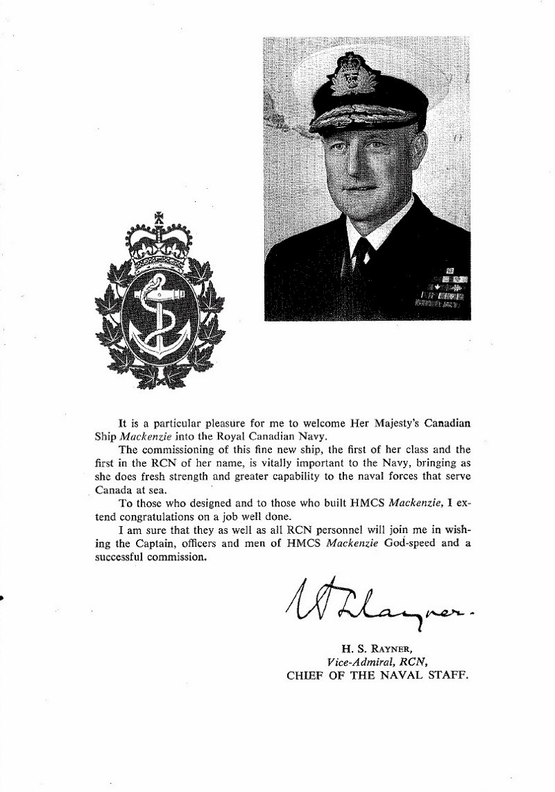 HMCS MACKENZIE 261 Commissioning Booklet - Page 1