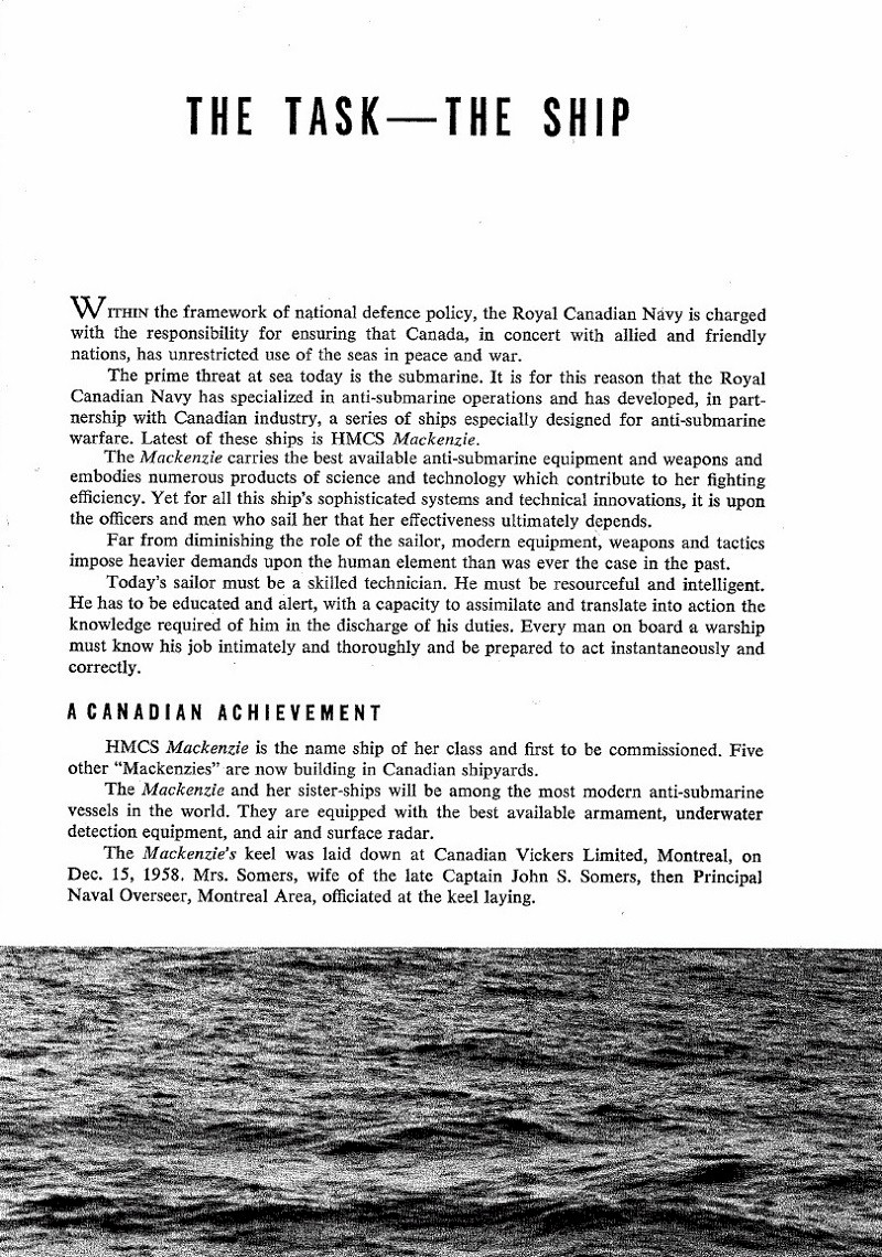 HMCS MACKENZIE 261 Commissioning Booklet - Page 3