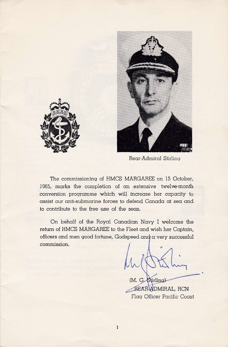 HMCS MARGAREE COMMISSIONING BOOKLET - PAGE 1