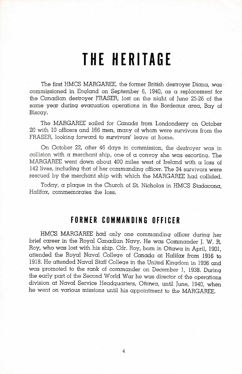 HMCS MARGAREE COMMISSIONING BOOKLET - PAGE 4