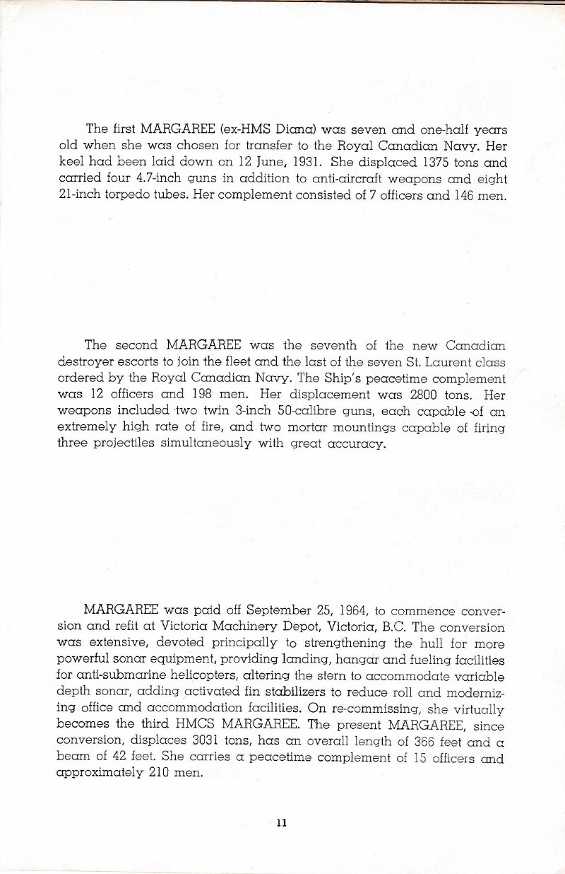 HMCS MARGAREE COMMISSIONING BOOKLET - PAGE 11