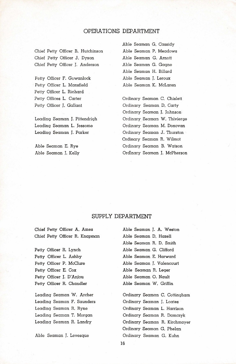 HMCS MARGAREE COMMISSIONING BOOKLET - PAGE 16