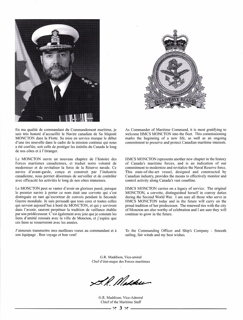 HMCS MONCTON 708 - COMMISSIONING BOOKLET - PAGE 3