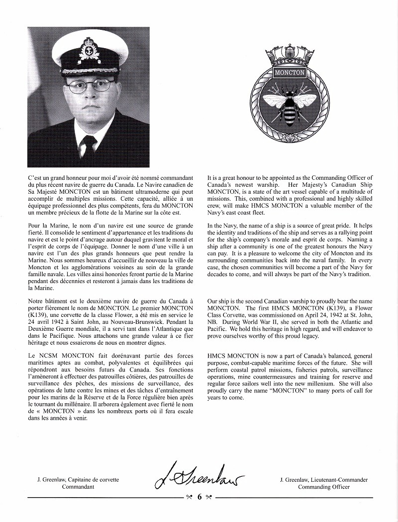 HMCS MONCTON 708 - COMMISSIONING BOOKLET - PAGE 6
