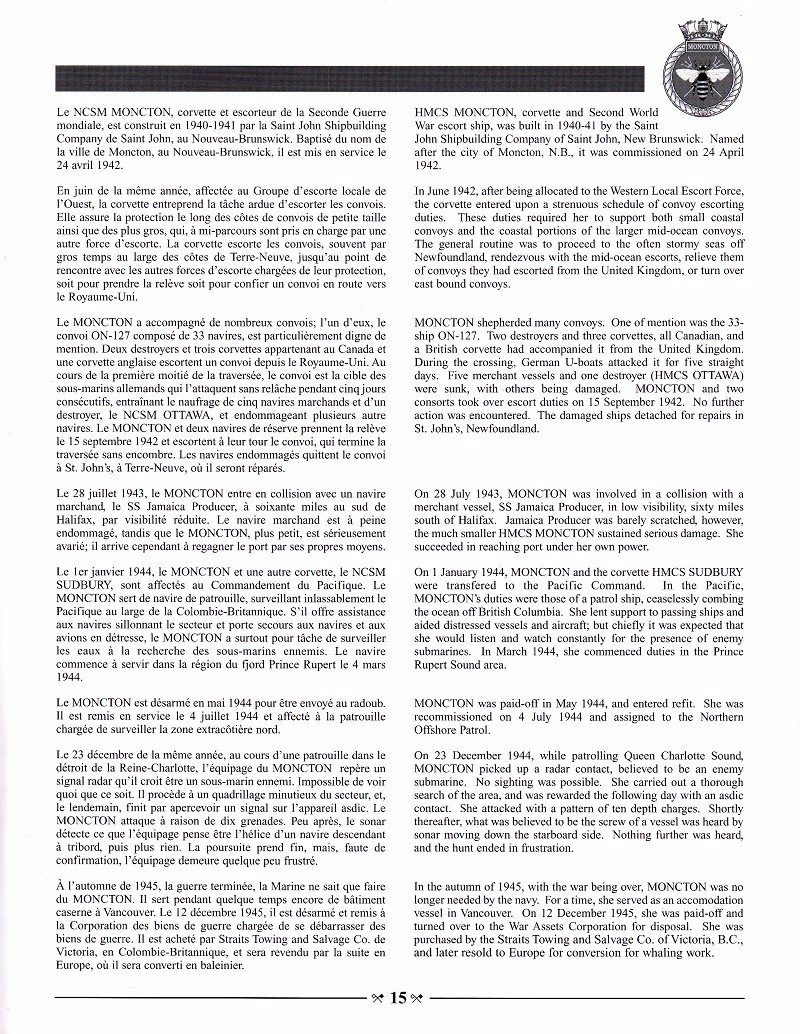 HMCS MONCTON 708 - COMMISSIONING BOOKLET - PAGE 15