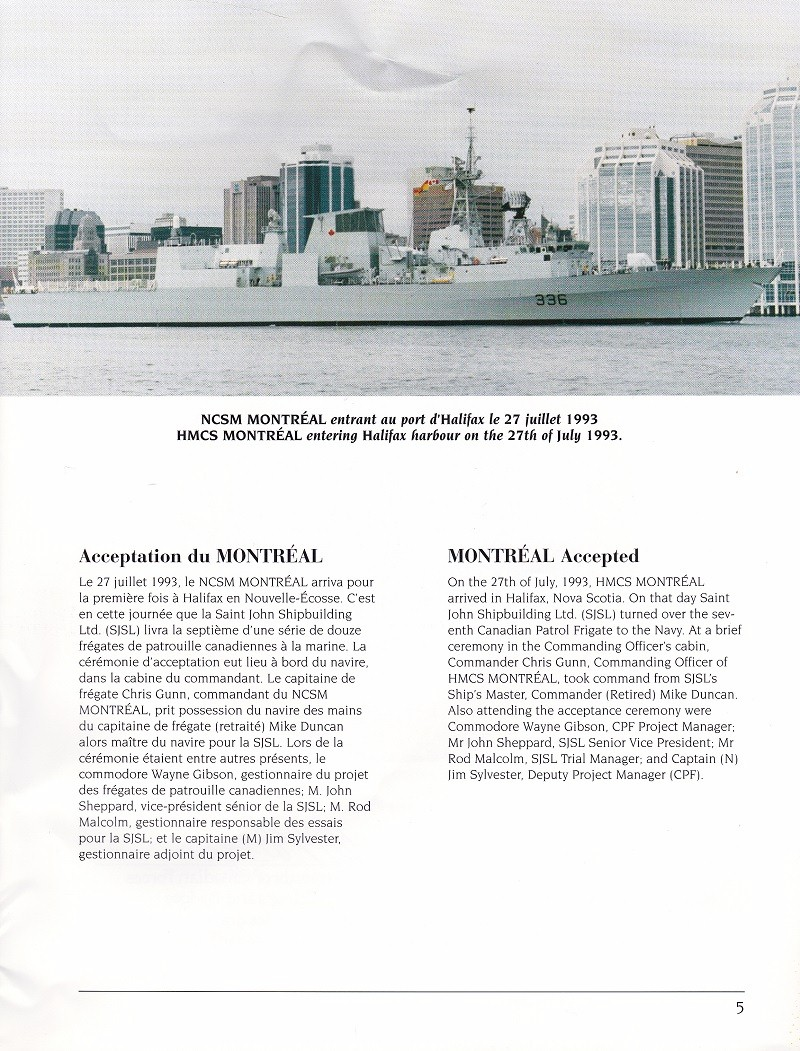 HMCS MONTREAL 336 - COMMISSIONING BOOK - Page 5