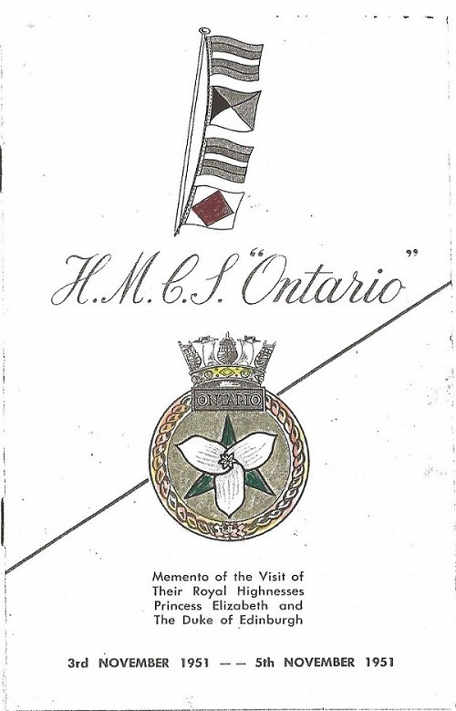 HMCS ONTARIO - Memento of the Visit of Princess Elizabeth and the Duke of Edinburgh - Cover Page